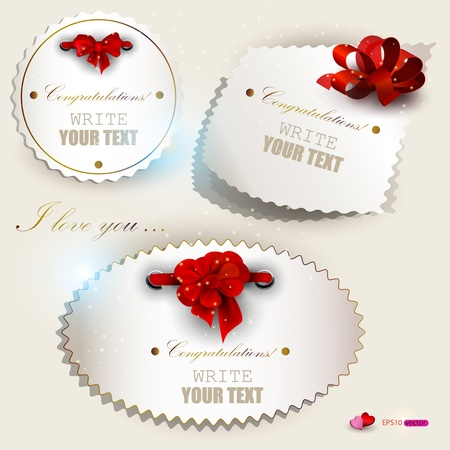 greeting card backgrounds: Gift cards with red ribbons. Vector set Illustration