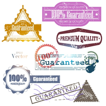Set of Super Quality and Satisfaction Guarantee Badges, Labels, Tags. Retro vintage style Stock Vector - 12379204