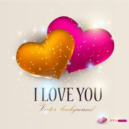 te amo: Dos corazones en fondo beige. San Valent�n