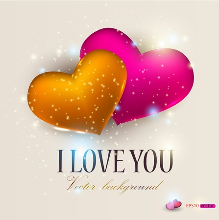Two hearts on beige background. Valentine Vector