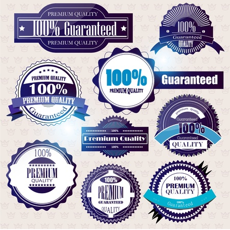 superior: Set of Superior Quality and Satisfaction Guarantee Badges, Labels, Tags. Retro vintage style Illustration