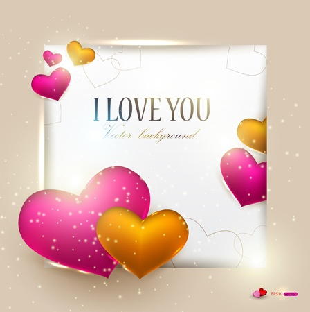 i love: Beautiful background with hearts and place for text. Valentine Illustration