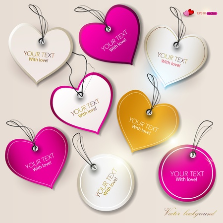 Set of bubbles, stickers, labels, tags. Shape of hearts. Valentine Vector