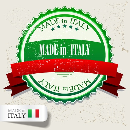 """�conomie verte: D�finir des badges, �tiquettes, l'�tiquette """"Made in Italy"""". Vector illustration. Grunge timbre avec le texte"""