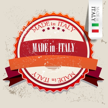 made in italy: Set of Badges, Labels, Tags Made in Italy. Vector illustration. Grunge stamp with text