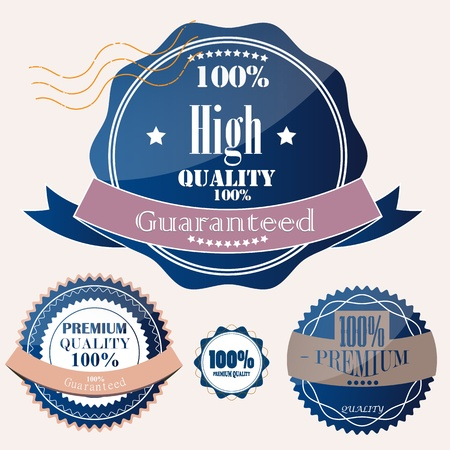 Set of Superior Quality and Satisfaction Guarantee Badges, Labels, Tags. Retro vintage style Stock Vector - 12379242