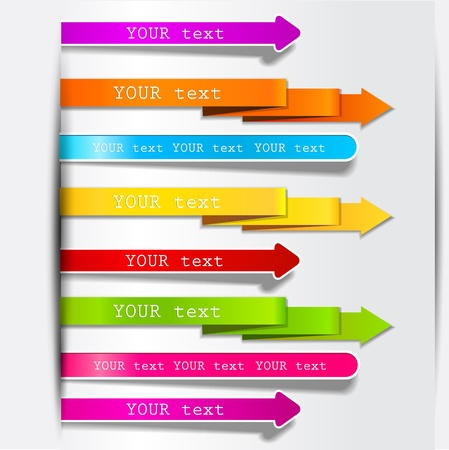 pink ribbons: Colorful bookmarks and arrows for text Illustration