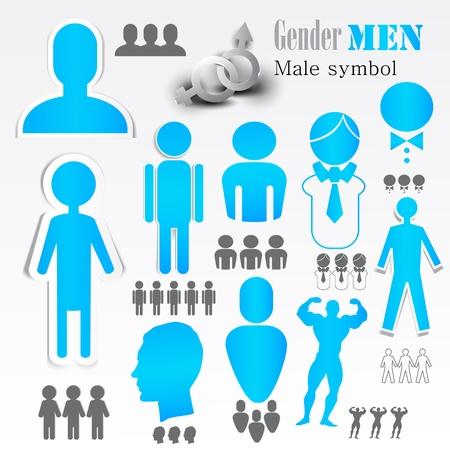 Symboles de sexe masculin. Vector.