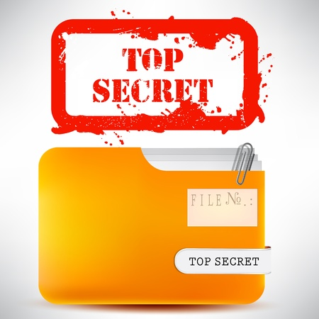 Folder with documents stamped 'Top Secret' Vector