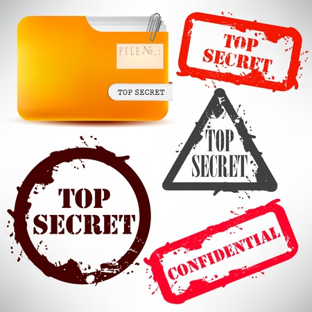 Folder with documents stamped Top Secret Vector