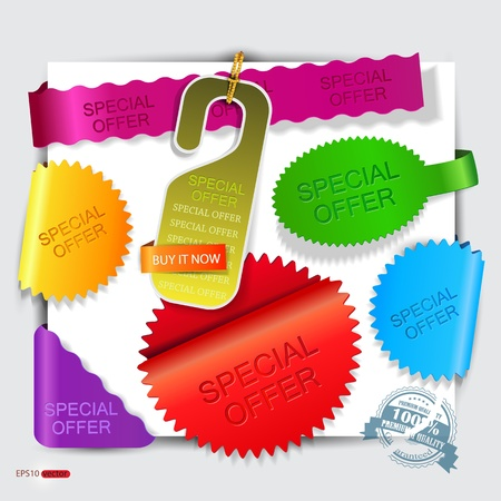 Vector stickers and bookmarks  Special Offer  Illustration