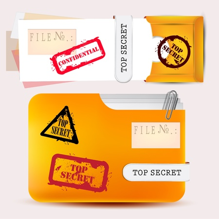 Folder with documents stamped  Top Secret  Stock Vector - 12886189