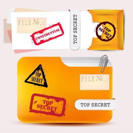 stamped: Folder with documents stamped  Top Secret  Illustration