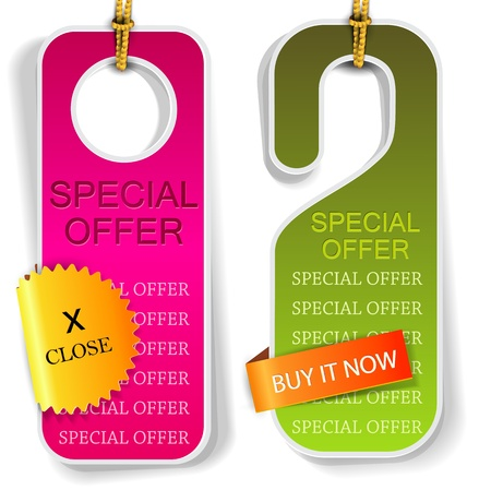 flyer layout: Vector labels and bookmarks  Special Offer
