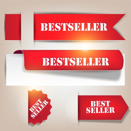 Bestseller. Red banners and labels. Vector set Stock Vector - 12886243