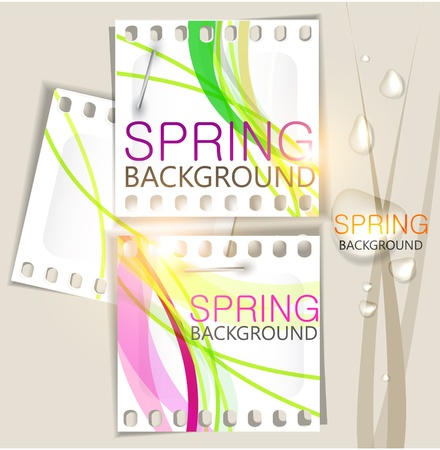 Abstract background with notes and water drops. Nature. Spring Vector
