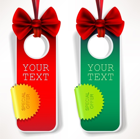 Card notes with ribbons. Red and green invitations Illustration