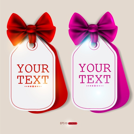 Card notes with ribbons. Red and pink invitations Vector