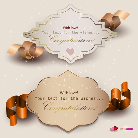 christmas ribbon: Collection of gift cards with ribbons  Vector background Illustration