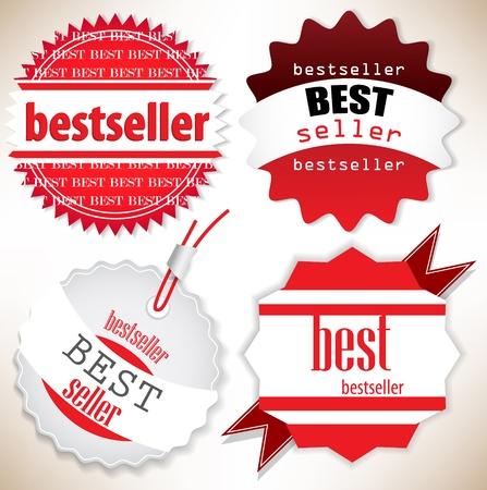 Bestseller. Red  labels. Vector set Stock Vector - 13142246