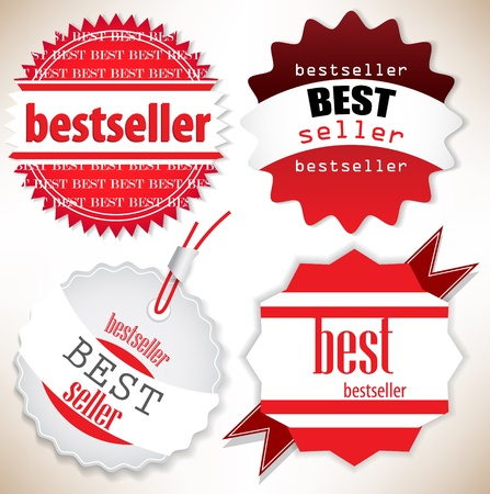 bestseller: Bestseller. Red  labels. Vector set