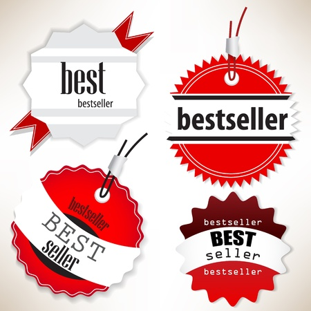 Bestseller. Red  labels. Vector set Vector