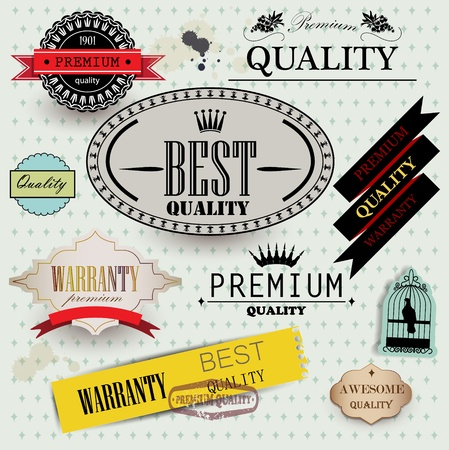 Set of Superior Quality and Satisfaction Guarantee Badges, Labels, Tags. Retro vintage style Stock Vector - 13142244