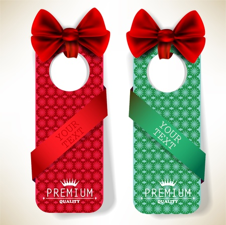 Card notes with ribbons. Red and green invitations Vector