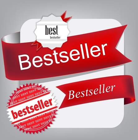 bestseller: Bestseller. Red banners and labels. Vector set