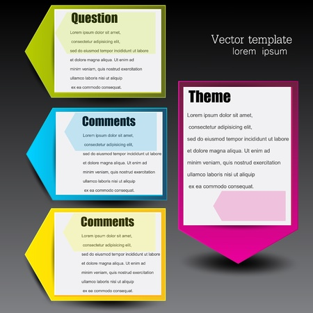 advertising column: Colorful paper arrows for text