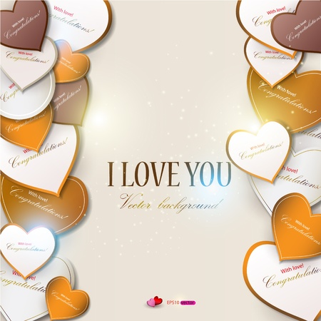 Elegant background with vector hearts  Valentine Vector