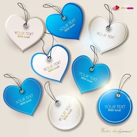 Set of bubbles, stickers, labels, tags  Shape of hearts  Valentine Vector