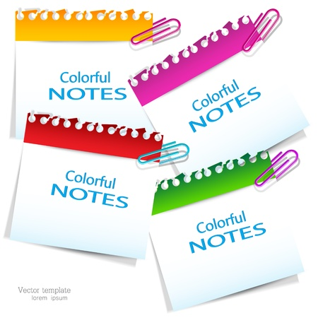 place for text: Notas de papel de colores con lugar para el texto Vectores