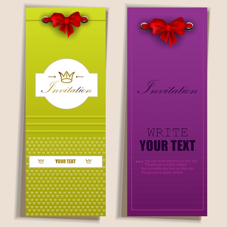 Card notes with ribbons  Red and white invitations Vector