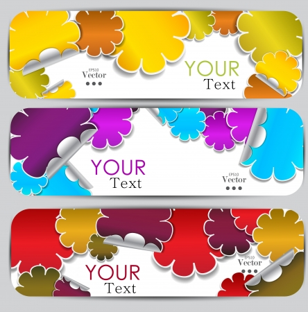 samples: Set of three colorful banners  Designed in the same style