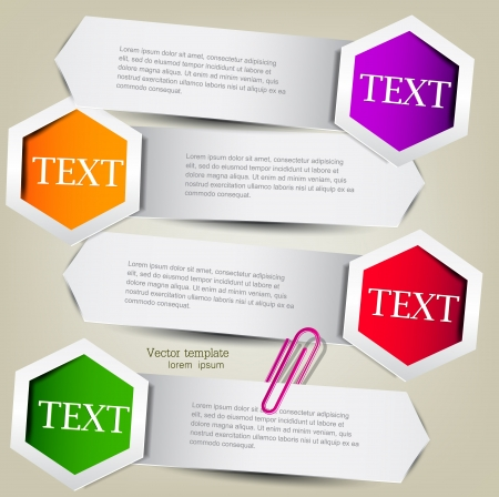 Colorful bookmarks for text  Colorful paper arrows  Vector
