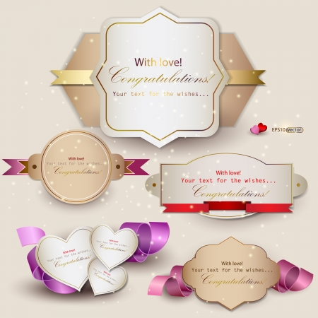satin: Collection of gift cards with ribbons background