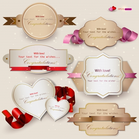 golden symbols: Collection of gift cards with ribbons  Vector background Illustration