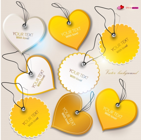 coupon template: Set of bubbles, stickers, labels, tags  Shape of hearts  Valentine