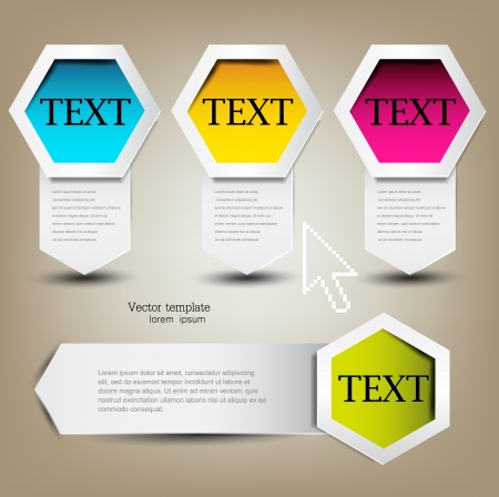 Colorful bookmarks for text  Colorful paper arrows  Stock Vector - 13655877