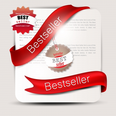 Bestseller  Red banners and labels  Vector set Vector