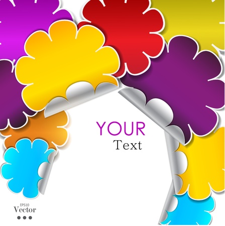 place for text: Colorful background made from stickers with place for text