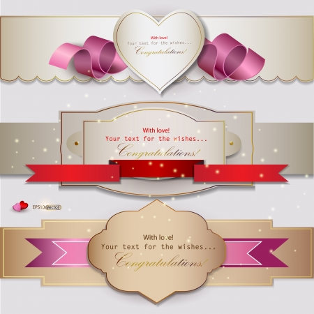 Set of  holiday banners with ribbons  Vector background Illustration
