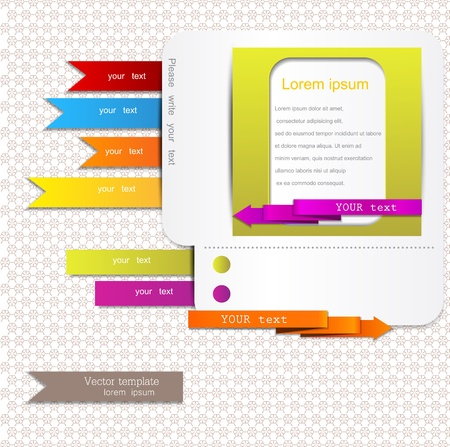 Website elements  Colorful arrows and bookmarks Illustration