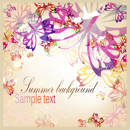 Colorful vintage background with butterfly Vector