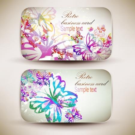 tarjeta de presentacion: Vintage Tarjeta de visita Set Dise�ado con la mariposa en el mismo estilo Vectores
