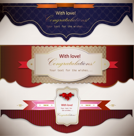 wedding card design: Set of holiday banners with ribbons  Vector background