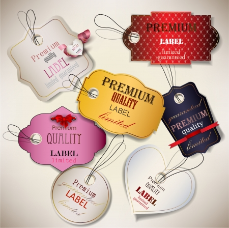 discount card: Set of Superior Quality and Satisfaction Guarantee Badges, Labels, Tags  Retro vintage style