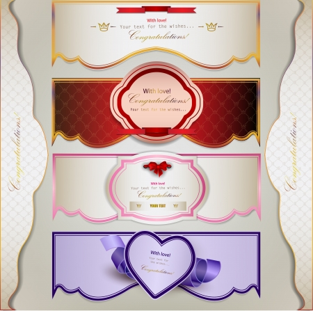 Set of  holiday banners and labels with ribbons. Vector background Vector