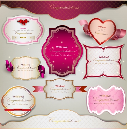 Set of  holiday banners and labels with ribbons. Vector background